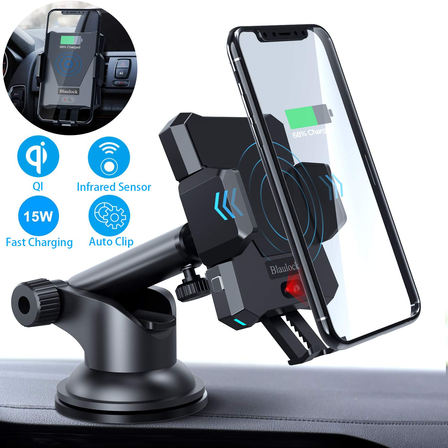 Smart Wireless Car Charger Mount 15W,Blaulock Infrared Sensing Auto-Clamp QI Fast Charging Phone Holder, Windshield Dash Air Vent Wireless Charger for iPhone 11/Xs/XR/8 Samsung S10/S10+/S9/S9+/S8 etc. by Blaulock