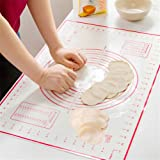 HBlife Non Stick Large Silicone Baking Mat Dough Mat with Measurement Red (60x40cm) (1)