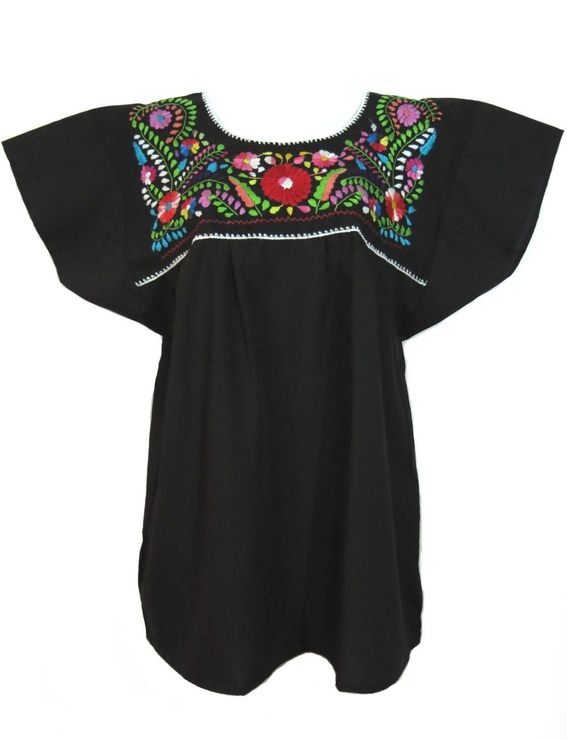Women's Traditional Black Mexican Puebla Blouse - DeluxeAdultCostumes.com