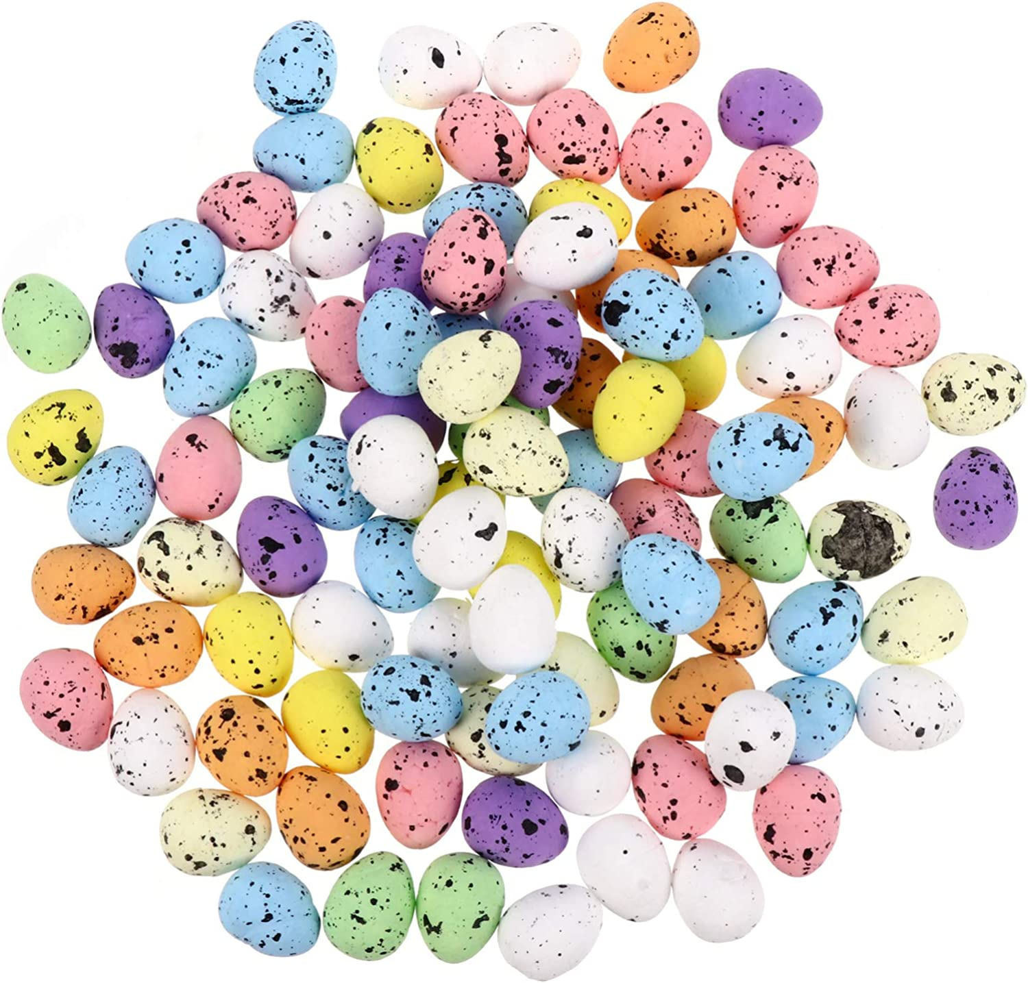 PRETYZOOM 100pcs Speckled Eggs Children's Day Decorative Crafts DIY Supplies Easter Eggs Ornaments for Home Garden Decor, 0. 6 x 0. 7 Inch