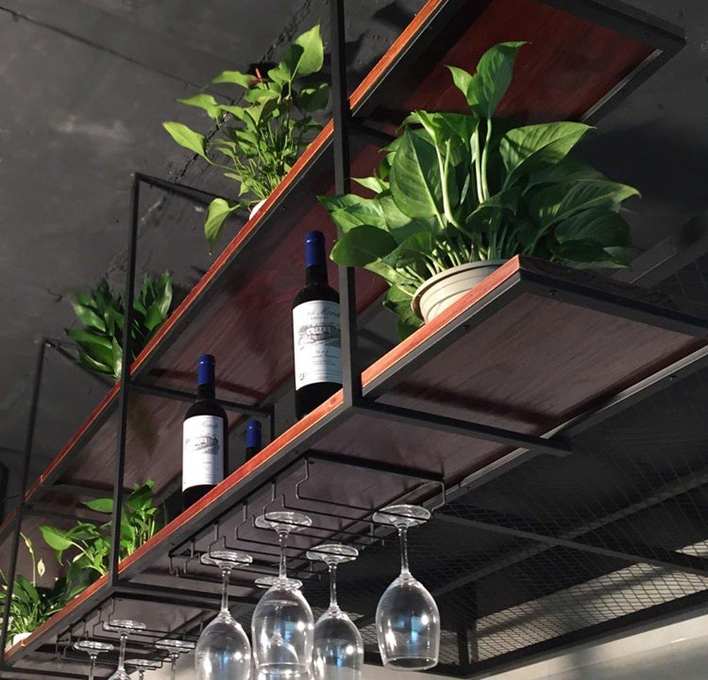 Retro Plafond-Type Fleur Stand Solide Bois Tenture Murale /Étag/ère Suspendu Plafond Rangement Rack Commercial et Maison Vin Racks taille : 100/×30/×80cm