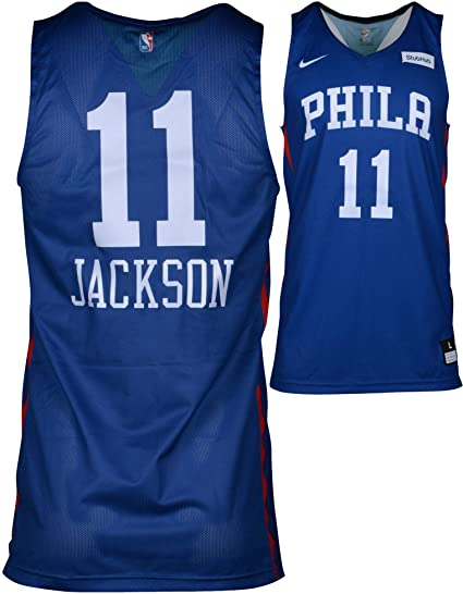 1a3a12579d2 Demetrius Jackson Philadelphia 76ers Game-Used  11 Blue Jersey from the  2018 Summer League