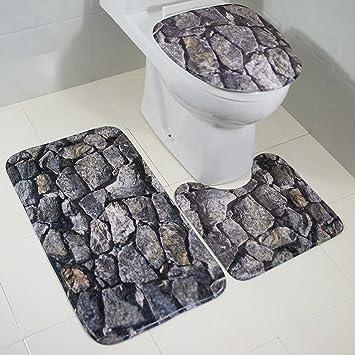 Badematten Duschmatte Waschbare Badezimmer Badteppich 3-Teiliges ...