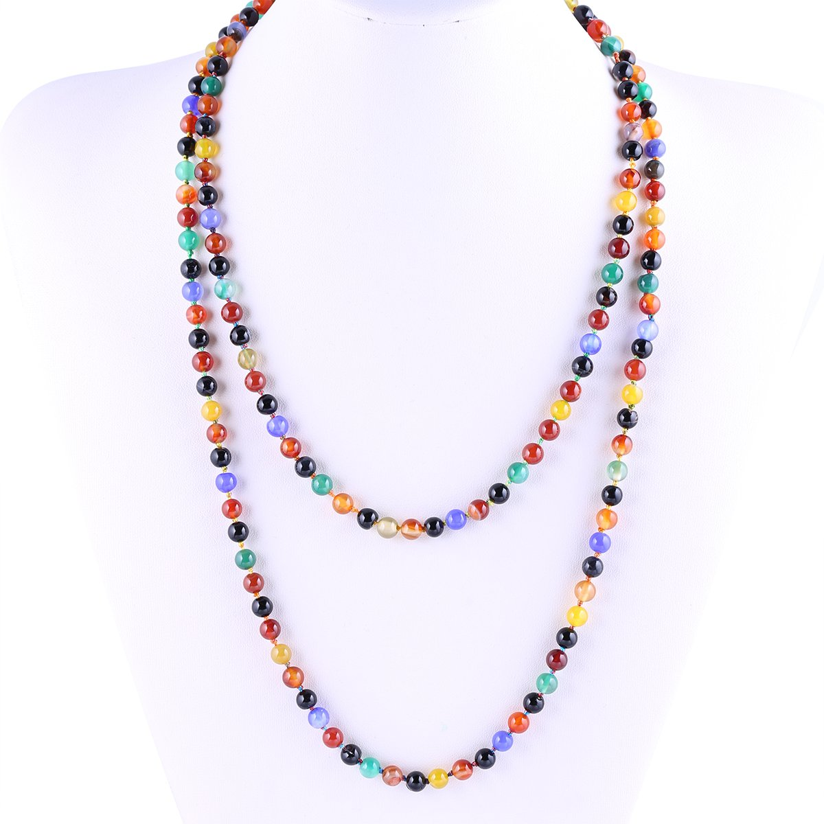 6mm Agate Beads Necklace Bracelet Multicolor Handmade Strand Long Necklace for Women 47''