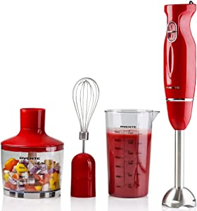 Ovente Immersion Hand Blender Set with Brushed Stainless Steel Blades, 300 Watt Power 2 Mix Speed Handheld Stick Mixer with Egg Whisk Attachment Mixing Beaker and BPA-Free Food Chopper, Red HS565R