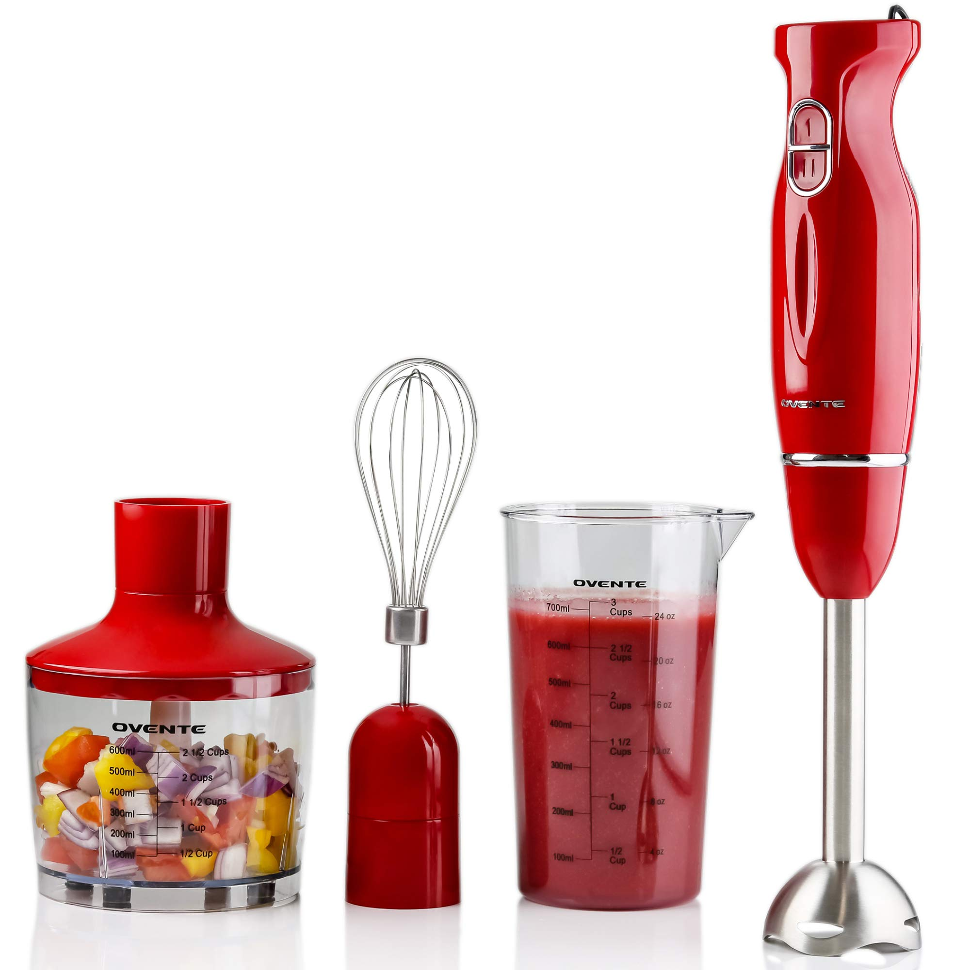 OVENTE HS565R Multi-Purpose Hand Immersion (Set-Red), Blender+Whisk+Beaker+Chopper
