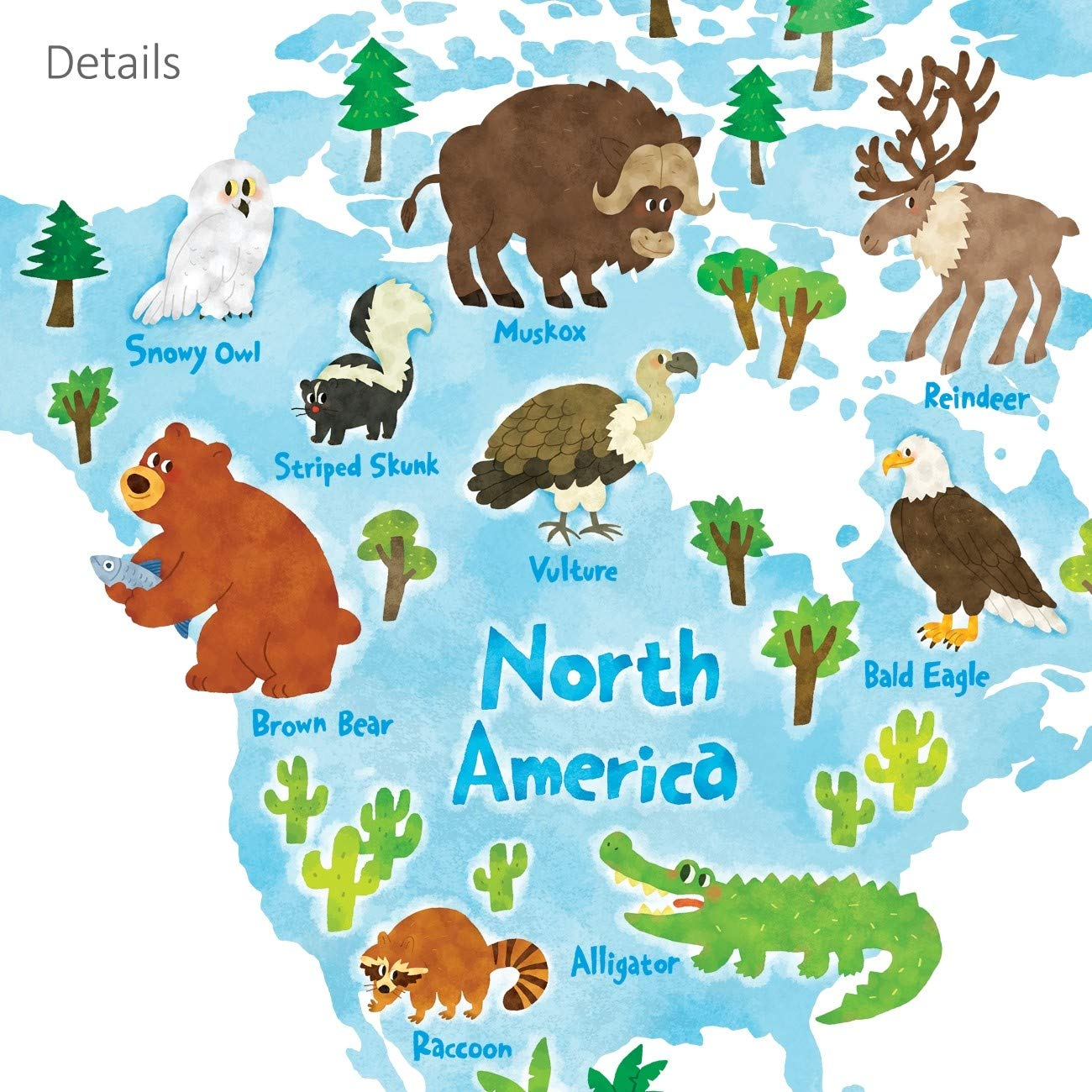 Decowall DLT-1615 Animal World Map Kids Wall Decals Wall Stickers Peel and Stick Removable Wall Stickers for Kids Nursery Bedroom Living Room (XLarge) by Decowall (Image #6)