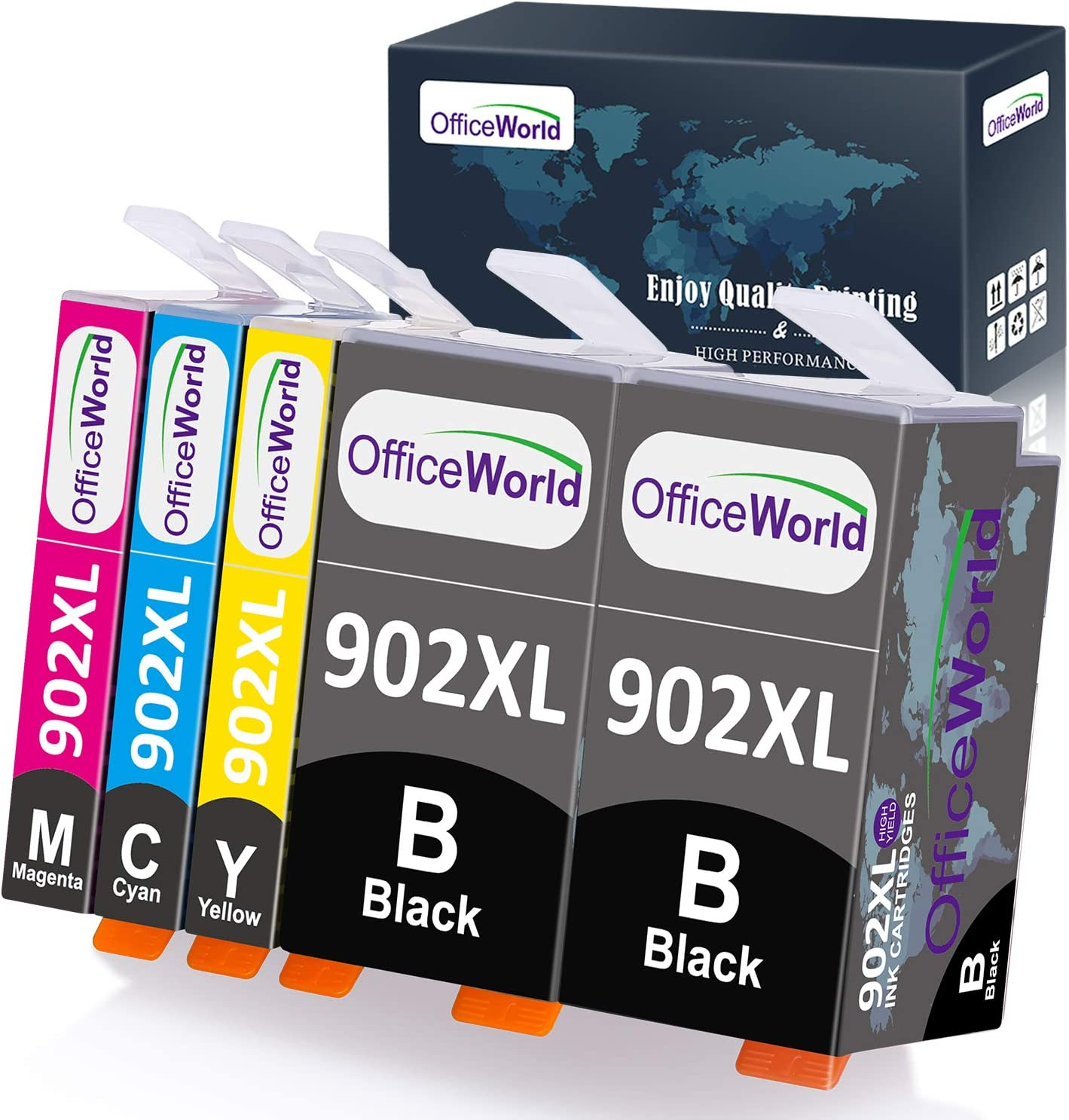 OfficeWorld Compatible Ink Cartridges Replacement for HP 902XL 902 XL, Used for OfficeJet Pro 6968 6978 6958 6962 6960 6970 6979 6954 6975 Printer, 5-Pack (2 Black, 1 Magenta, 1 Cyan, 1 Yellow)