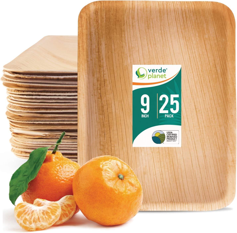 Verde Planet - 9 inch Flat Rectangular Palm Leaf Trays - Biodegradable, Ecofriendly, Disposable, Sturdy, Elegant, Premium Quality Plates - 25 Count