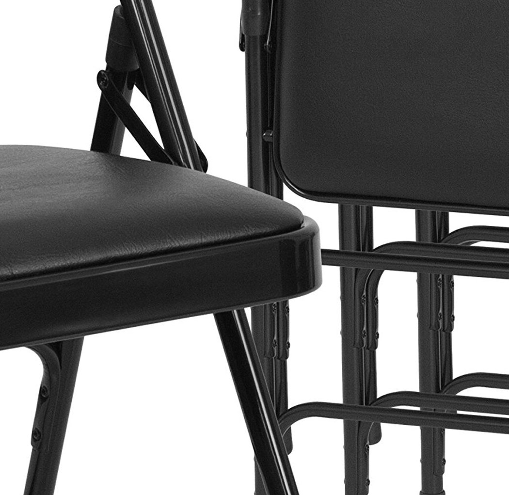 Flash Furniture 4 Pk. HERCULES Series Curved Triple Braced & Double Hinged Black Vinyl Fabric Metal Folding Chair by Flash Furniture (Image #2)