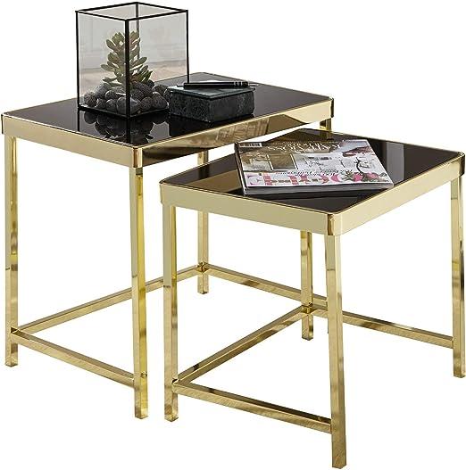 KS-Furniture Viola - Juego de 2 mesas auxiliares (Metal y Cristal ...