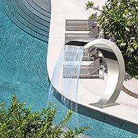 Fuente de piscina de acero inoxidable, gran tamaño piscina de plata para piscinas enterradas Cascadas de jardín Descenso escarpado agua Fuente de agua Características de agua de cascada Exterior
