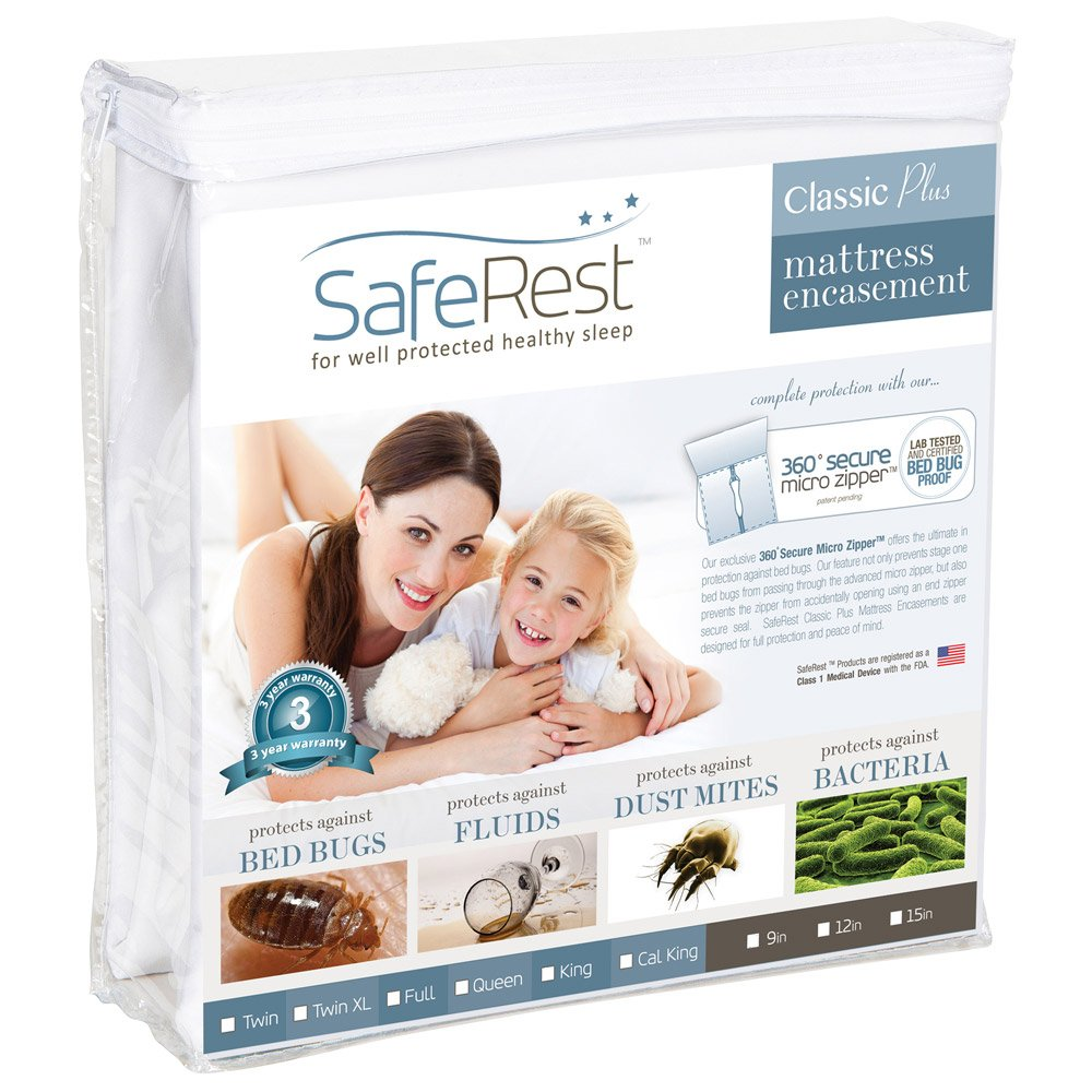 Queen Size SafeRest Classic Waterproof Lab Certified Bed Bug Proof Zippered Mattress Encasement (Fits 9 - 12 in. H) - Designed For Bed Bug, Dust Mite and Fluid Protection