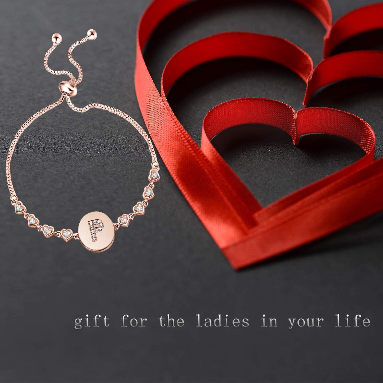 TGBJE Initial Bracelet Rose Gold Letter Bracelet Adjustable Bracelet Gift for Women,Girl