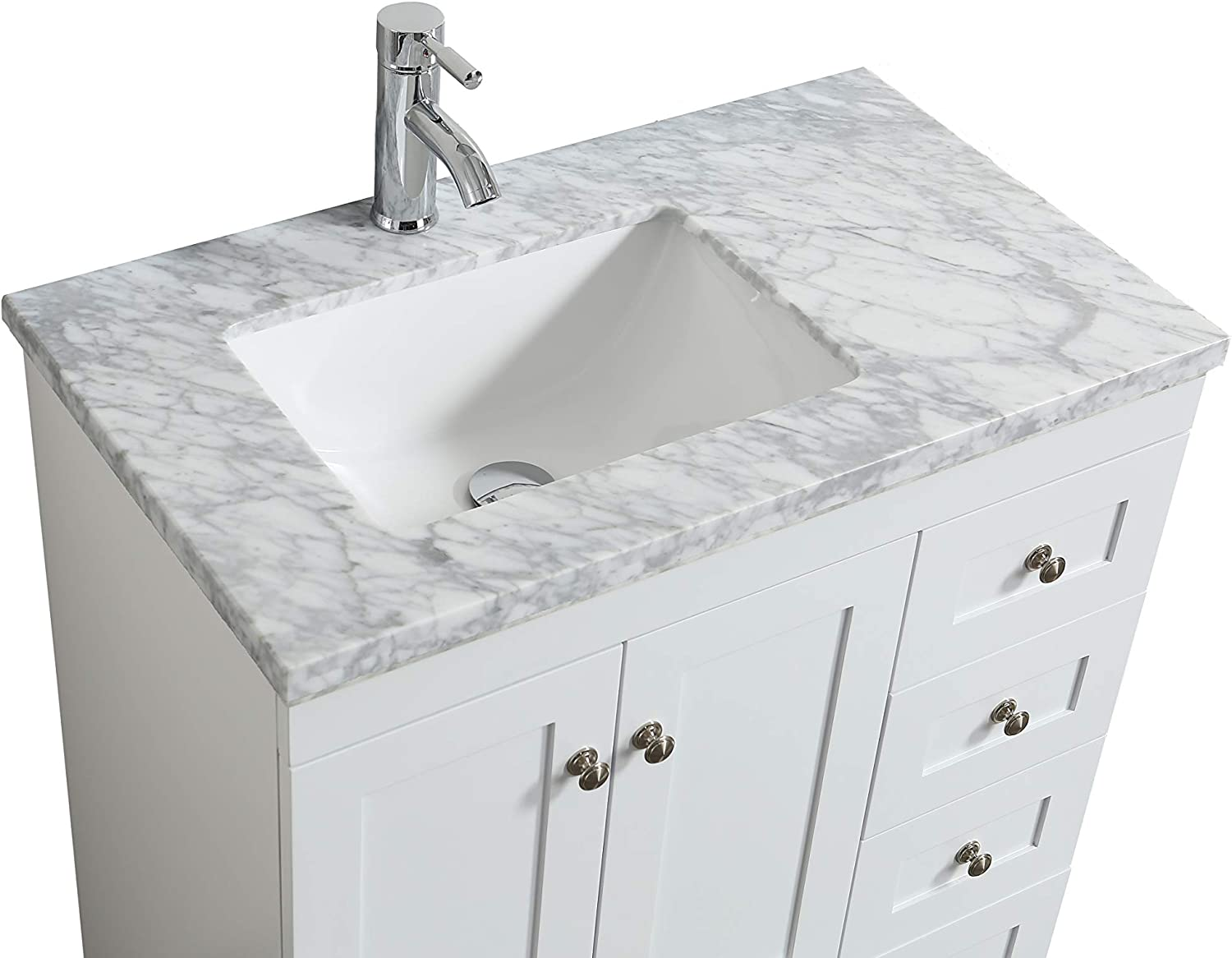 Eviva Happy 30 Inch X 18 Inch White Transitional Bathroom Vanity With White Carrara Marble Countertop And Undermount Porcelain Sink Amazon Com