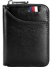 Hibate 12 Cards Slots Leather Credit Card Holder Wallet RFID Blocking for Men Women Business ID Case Zipper Pocket Purse - Black