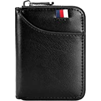 Hibate 12 Cards Slots Leather Credit Card Holder Wallet RFID Blocking for Men Women Business ID Case Zipper Pocket Purse