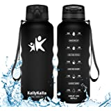 KollyKolla Sports Water Bottle - 350/500/800/1000ml/1.5L Reusable Plastic Drink Bottle with Time Marker and Filter, BPA…
