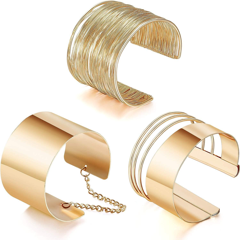 3 Piezas Pulseras Brazaletes Ancho de Puño Pulsera Ajustable de Aleación Pulsera de Bobina Oro para Mujeres