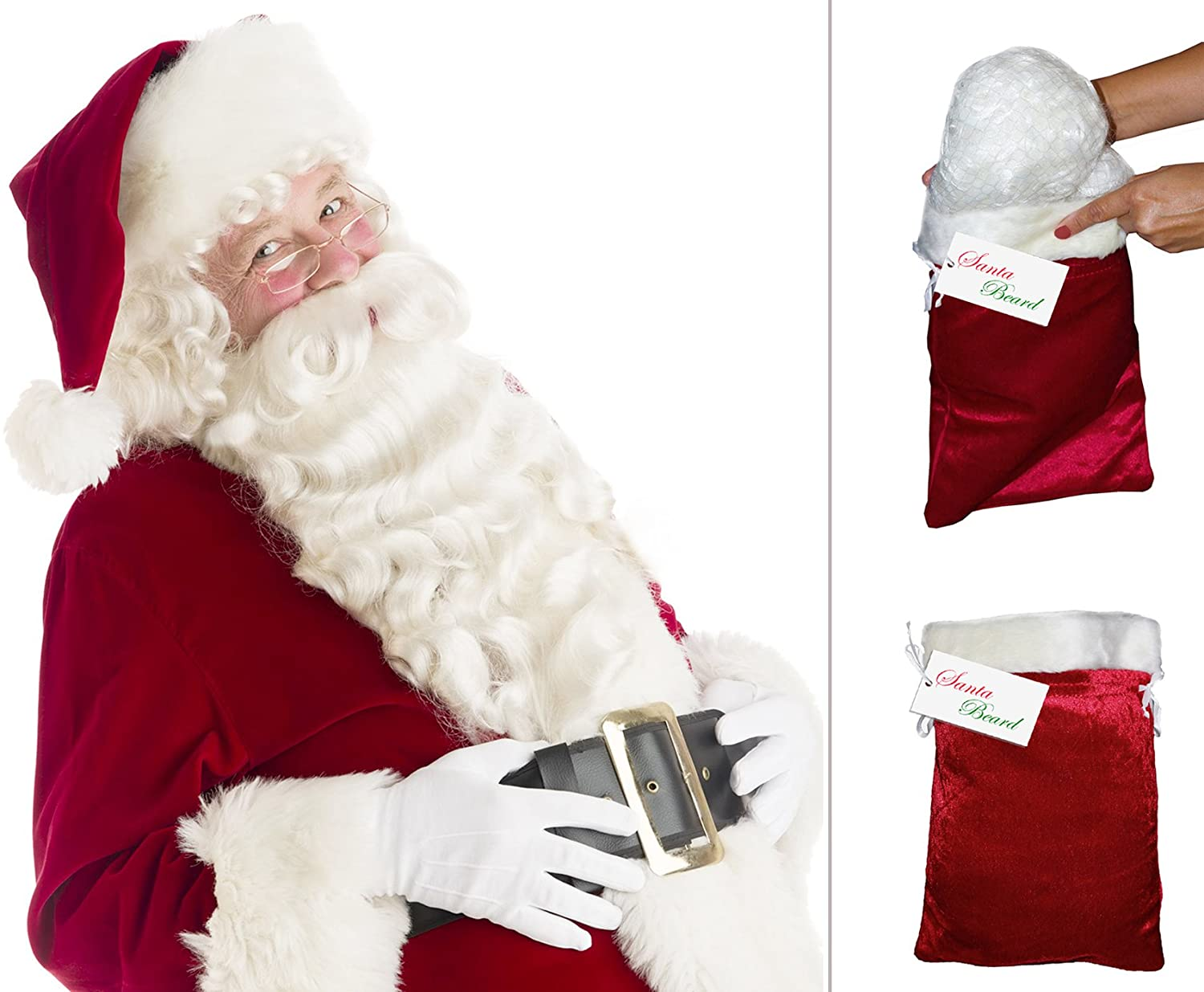 Santa Claus Full Beard and Wig Set - DeluxeAdultCostumes.com