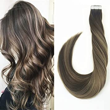 Amazon Com Laavoo 20 Balayage Ombre Tape In Hair Extensions Dip