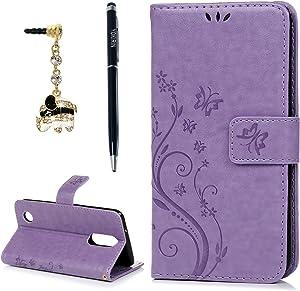 LG Aristo 2 Case, LG Aristo 2 Plus/LG Tribute Dynasty/LG Fortune/LG Fortune 2/LG Phoenix 3/LG K8 2017/LG Risio 3/LG Rebel 2/LG Zone 4/LG K8 Plus/K8 2018 Case, Flip Wallet Cover, Purple