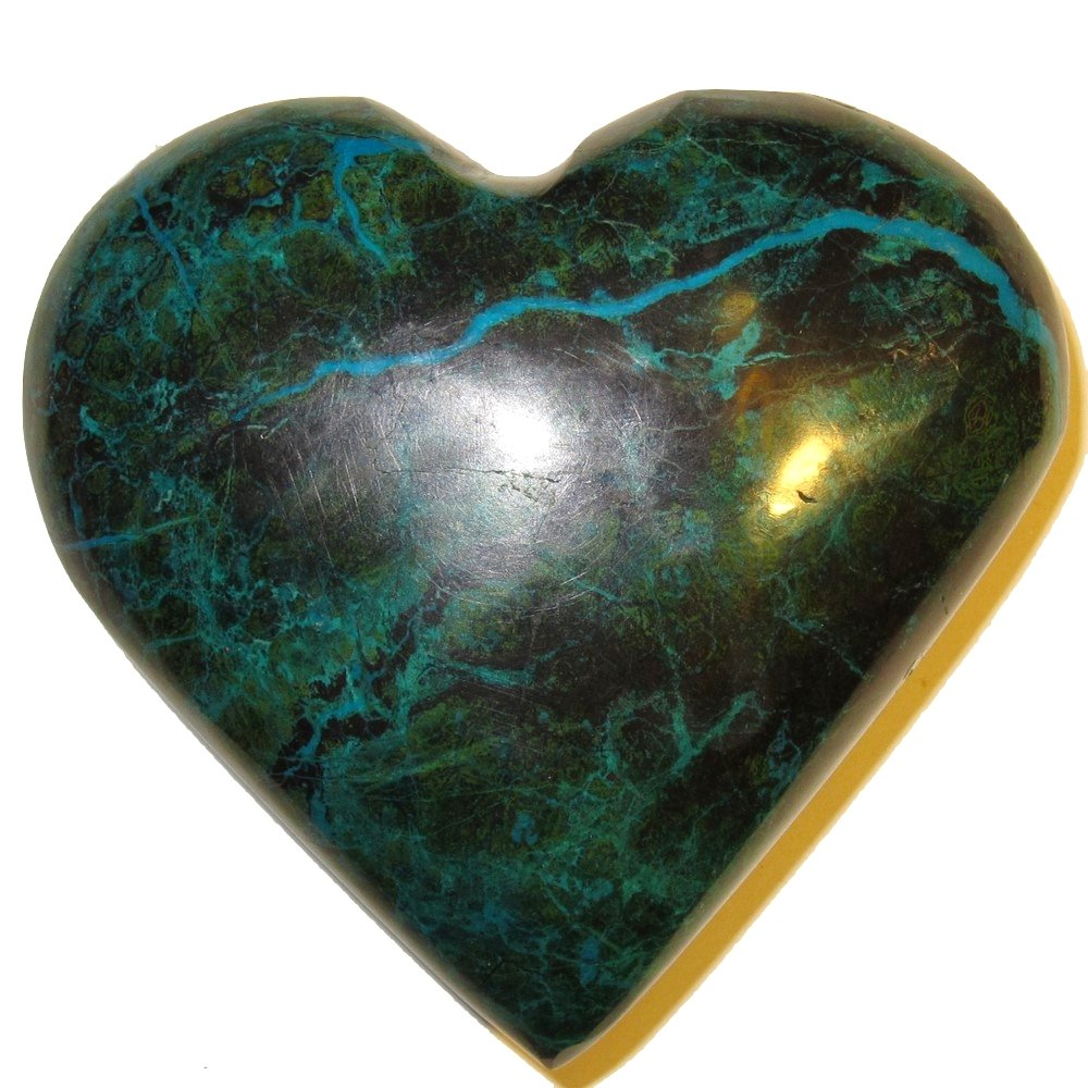 Chrysocolla Heart 05 Big Plump Natural Peruvian Turquoise Crystal True Love Anniversary Valentines 3.2'' by SatinCrystals (Image #3)