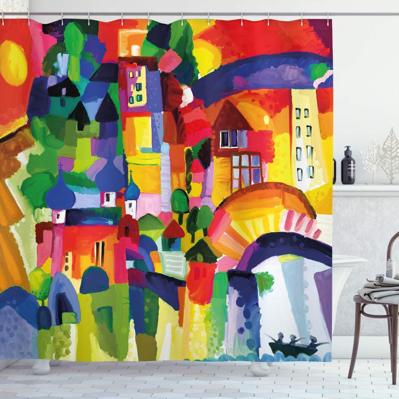 "Ambesonne Art Shower Curtain, Modern Vivid Abstract Architectural Buildings Urban Apartment Houses Village Landmark, Cloth Fabric Bathroom Decor Set with Hooks, 70"" Long, Orange Green"