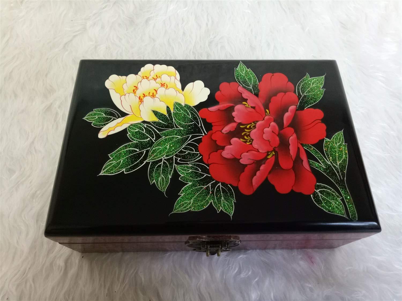 GLJ Caja de cosmética de Madera de la Boda de la Caja de la vanidad del Almacenamiento de la Laca del Empuje de la Laca de Madera 21  14  7.5cm Joyero (Estilo : A)
