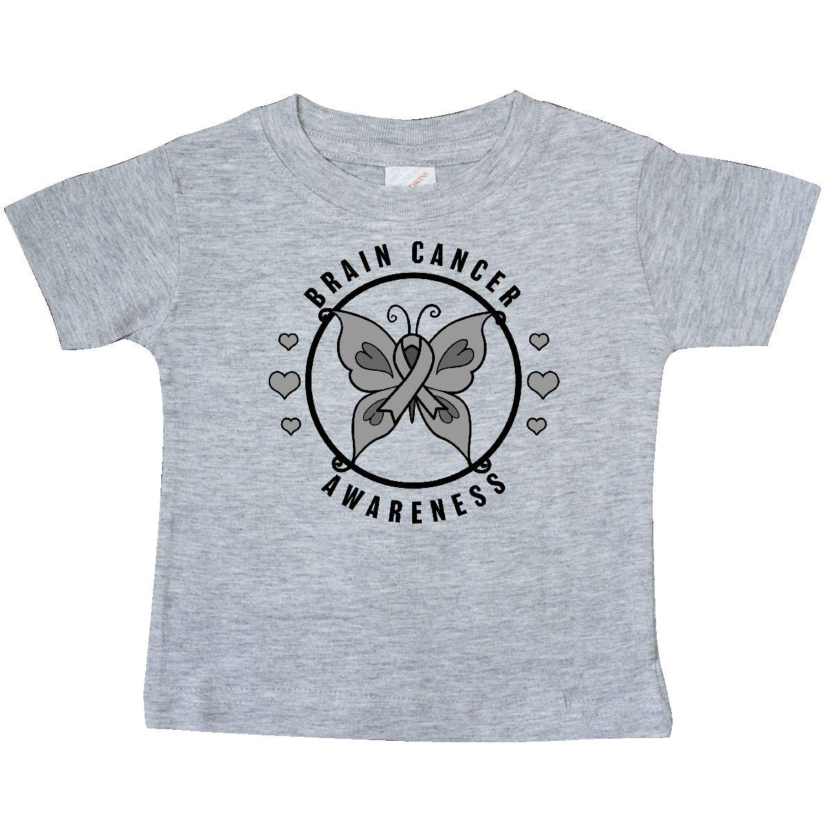 inktastic Brain Cancer Awareness with Grey Ribbon and Butterfly Baby T-Shirt