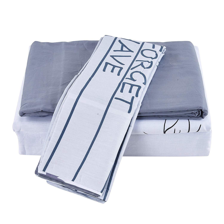 100%純綿プリント布団掛け布団カバーセット、ダブル - 寝具4ピースセット快適 - グレーホワイト - 200 x 230 cm B07R5MMVP6