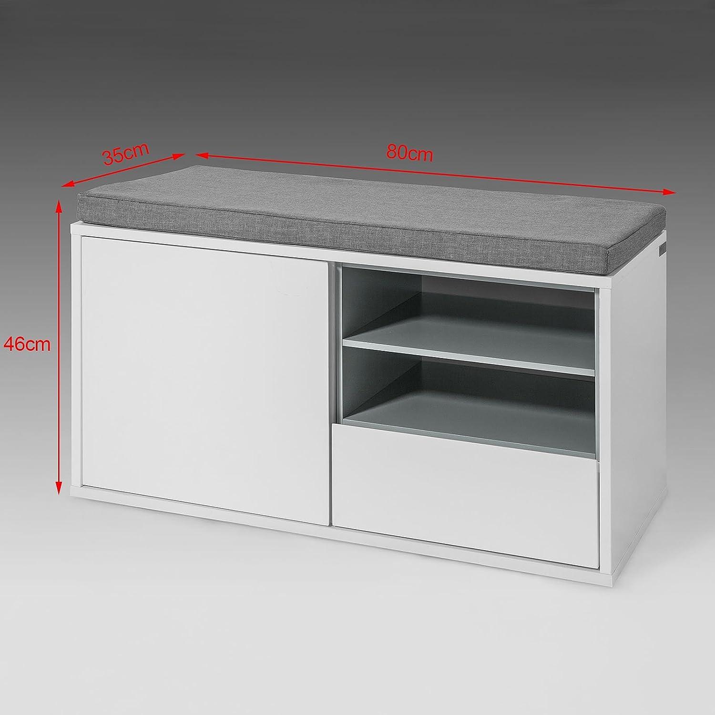L80xH46xP35cm SoBuy/® FSR37-W Banc de Rangement /à Chaussures avec Coussin rembourr/é tiroir et /étag/ères