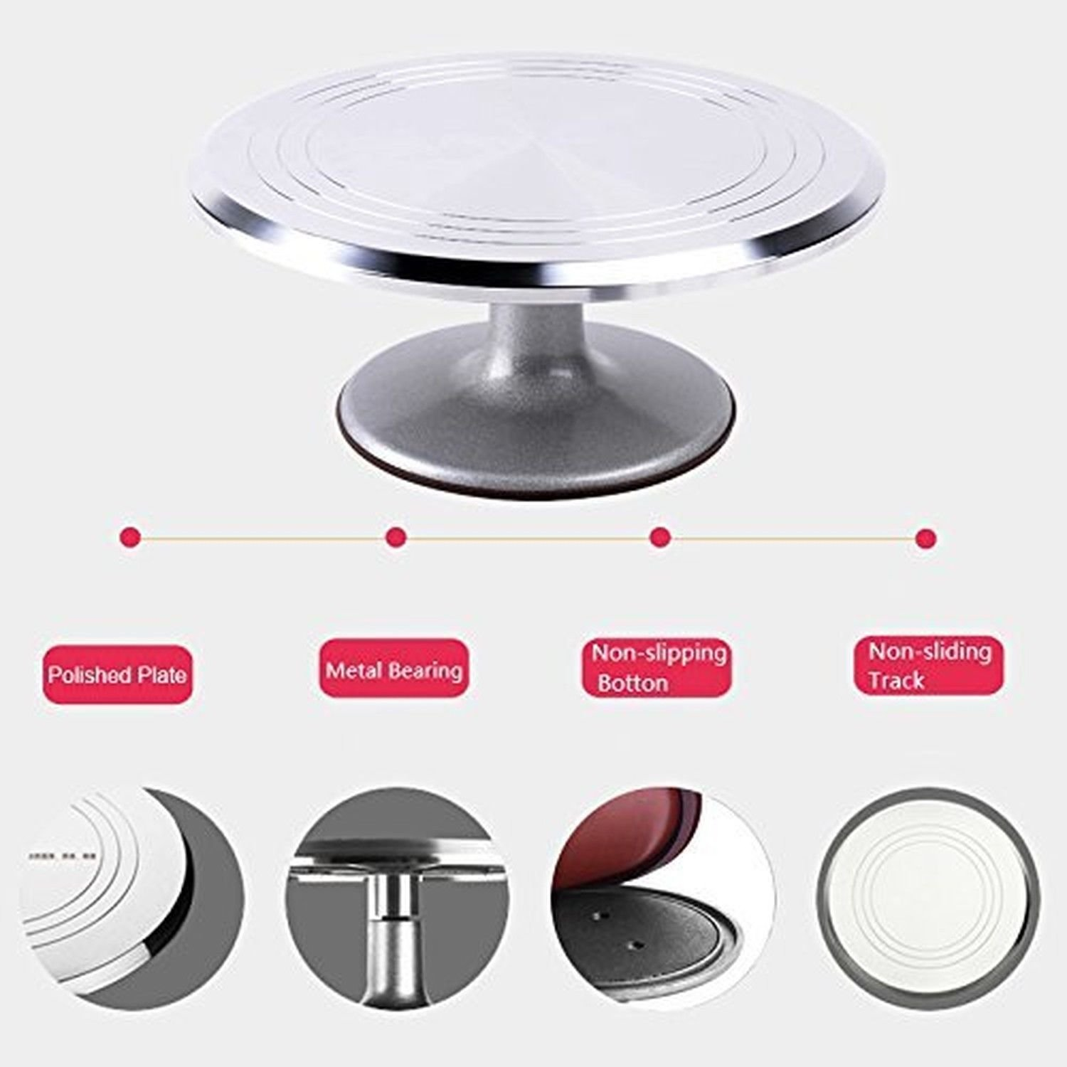 Aluminium Alloy Turntable 12 Inch Revolving Decorative Cake Stand Non-Slip Surface Keep Cake In Place While Your Decorate