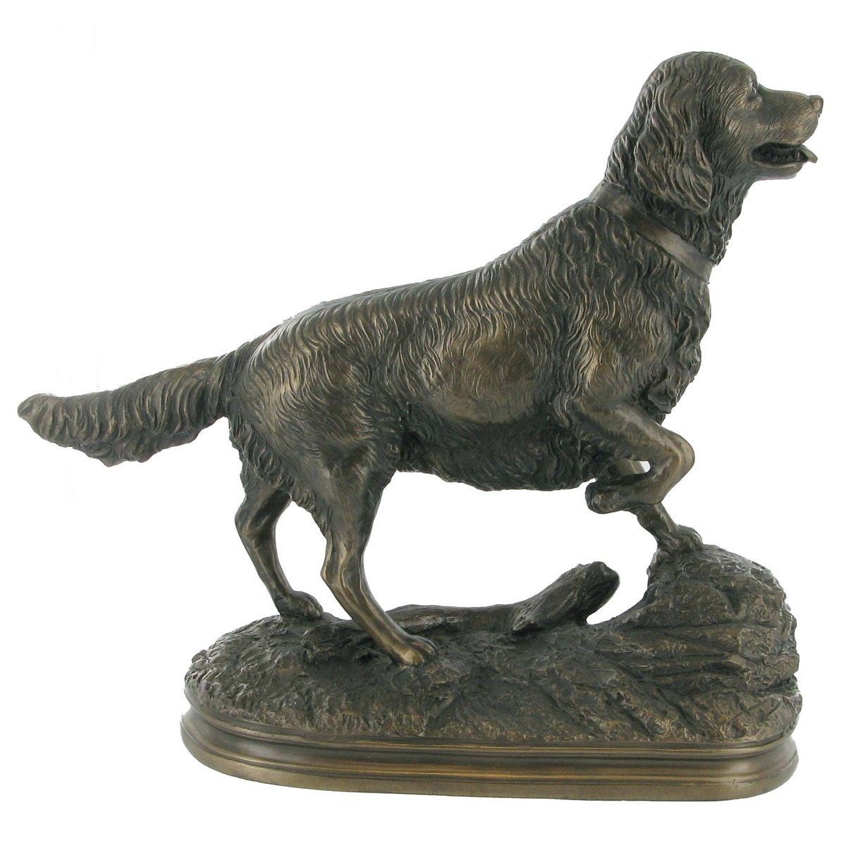 Cold Cast Bronze Standing Golden Retriever Dog Statue A Perfect Gift Idea  For Special