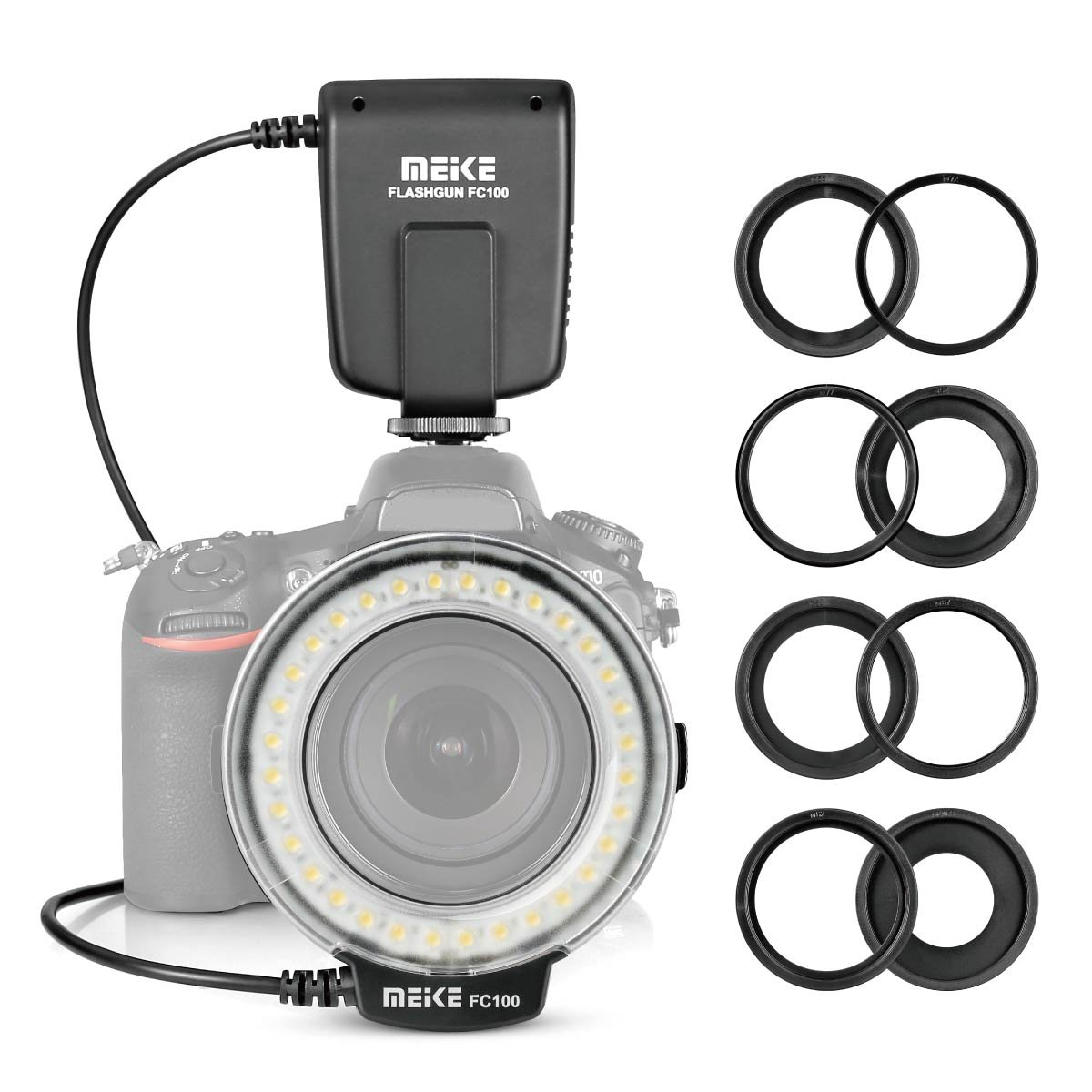 Meike FC100 Macro Ring Flash LED for Canon Nikon Pentax Olympus DSLR Camera Camcorder with Adapter Rings by Meike