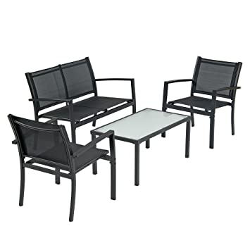 Amazon transcontinental group brasilia garden set black transcontinental group brasilia garden set black textilene set includes bench 2 chairs a workwithnaturefo