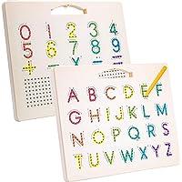 Hautton Tablero Magnético de Abecedario para Niños, Escritura 26 Letras Mayúsculas/10 Números/5 Signos Cálculo, Juguete…