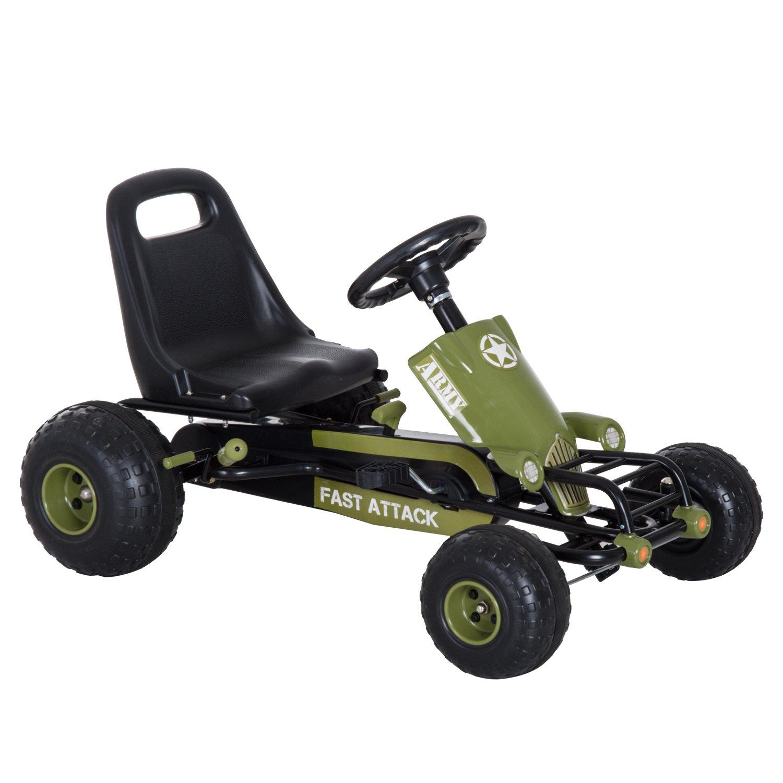 edición limitada Homcom Go Kart Coche de Pedales Racing Racing Racing Deportivo con Asiento Ajustable Embrague y Freno 99x65x56cm Marco Acero Negro y Verde  80% de descuento