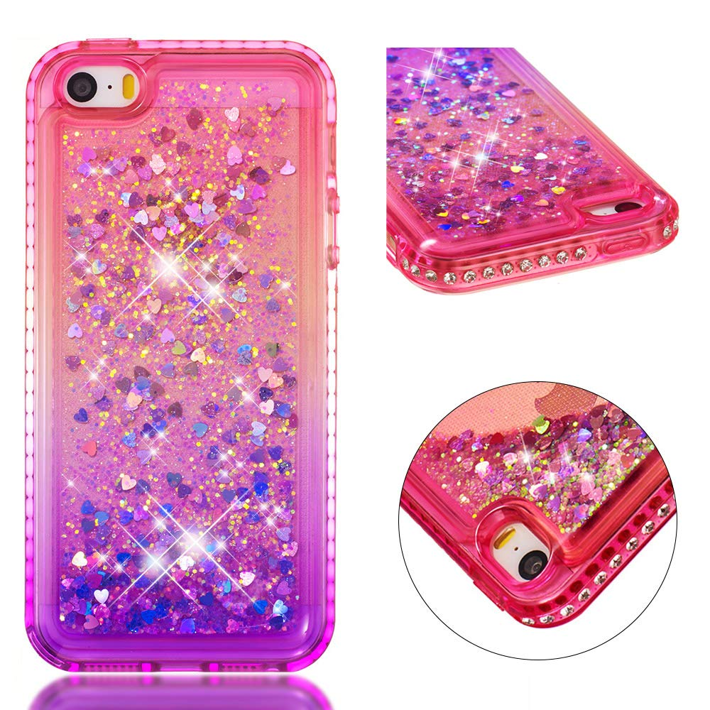 for iphone 5/5S iphone SE Case Glitter Liquid and Screen Protector, Gradient Colors Design Shiny Diamond Frame Clear Slim Fit Protective Phone Case, QFFUN Bling Sparkle Floating Quicksand Back Cover Shockproof Anti-Scratch Soft TPU Bumper - Pink and Purple
