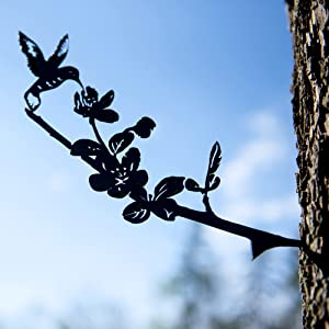 Metal Birds for Tree Decor - Hummingbird Silhouette Powder Coated to Prevent Rust - Made in The USA Outdoor Steel Art Decoration with Spike for Easy Installation