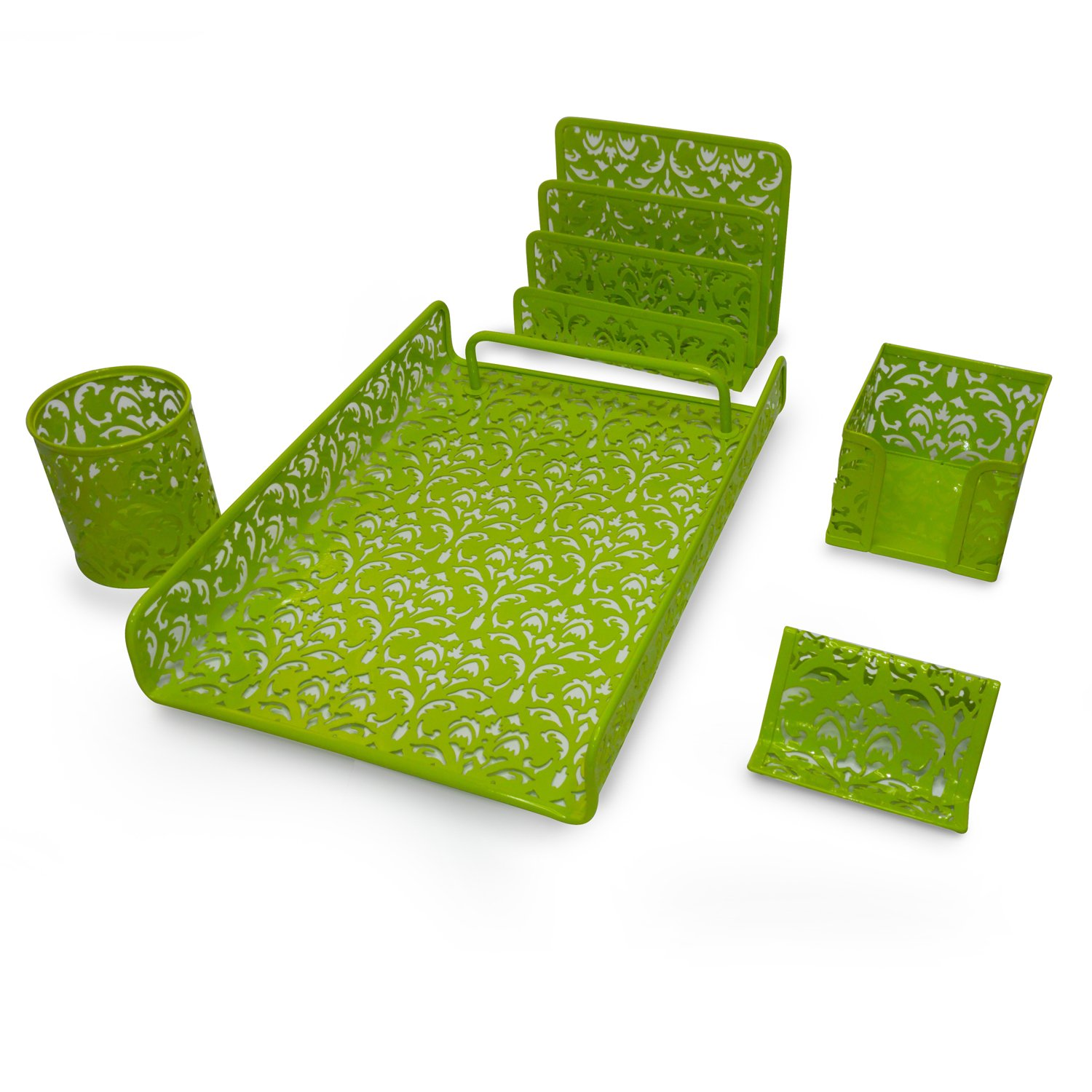 Majestic Goods 5 Piece Flower Design Punched Metal Mesh Office Desk Accessories Organizer, Green, (Pack of 5) - MG505-JM3622GRN