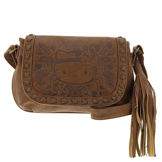fea5fe802e0 Hello Kitty Embossed Boho Tassel Cross Body Bag, Brown, One Size  Handbags   Amazon.com