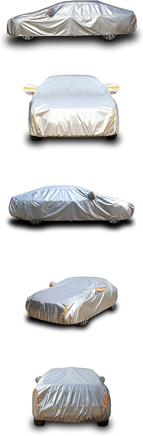 Tecoom Heavy Duty Multiple Layers Car Cover All Weather Waterproof Windproof Reflective Snow Sun Rain UV Protective Outdoor with Buckles and Belt Fit 160-172 inches Hatchback