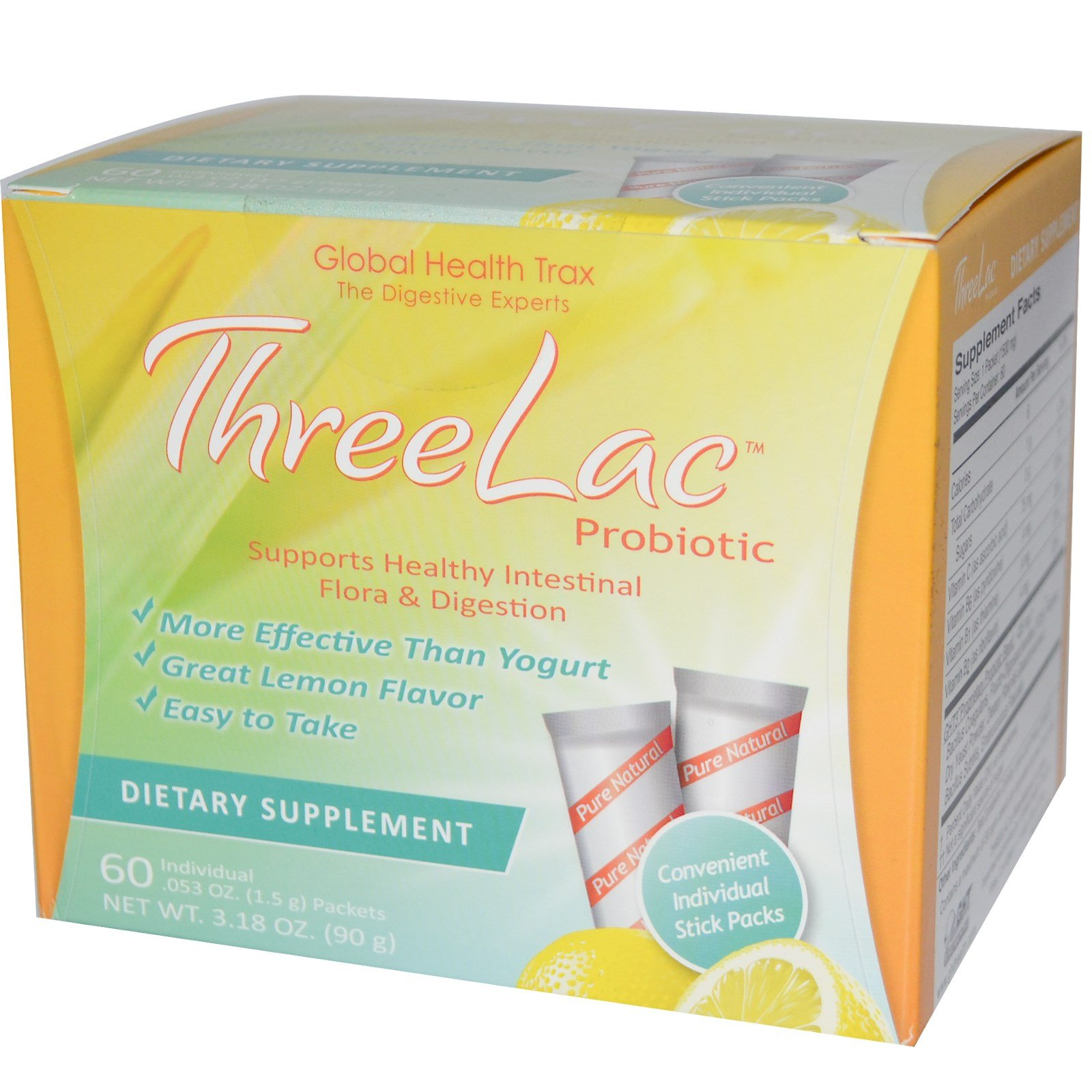 Global Health Trax, ThreeLac Probiotic, Lemon Flavor, 60 Packets, .053 oz (1.5 g) Each - 2pc