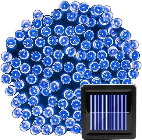 Guirnalda de luces solares para uso al aire libre, resistente al agua, 200 luces LED para Navidad...