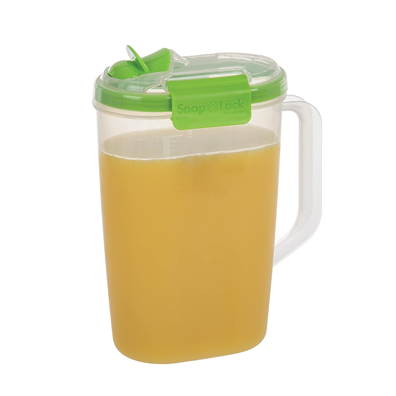 SnapLock by Progressive Juice Pitchers 2.0 Liter Container - Green, SNL-1016GEasy-To-Open, Leak-Proof Silicone Seal, Snap-Off Lid, Stackable, BPA FREE