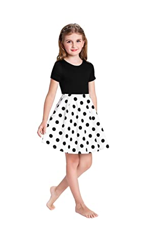 591983a8b752 GRACE KARIN Little Girls Polka Dots Patchwork Dress 7~8yrs CL712-2 ...