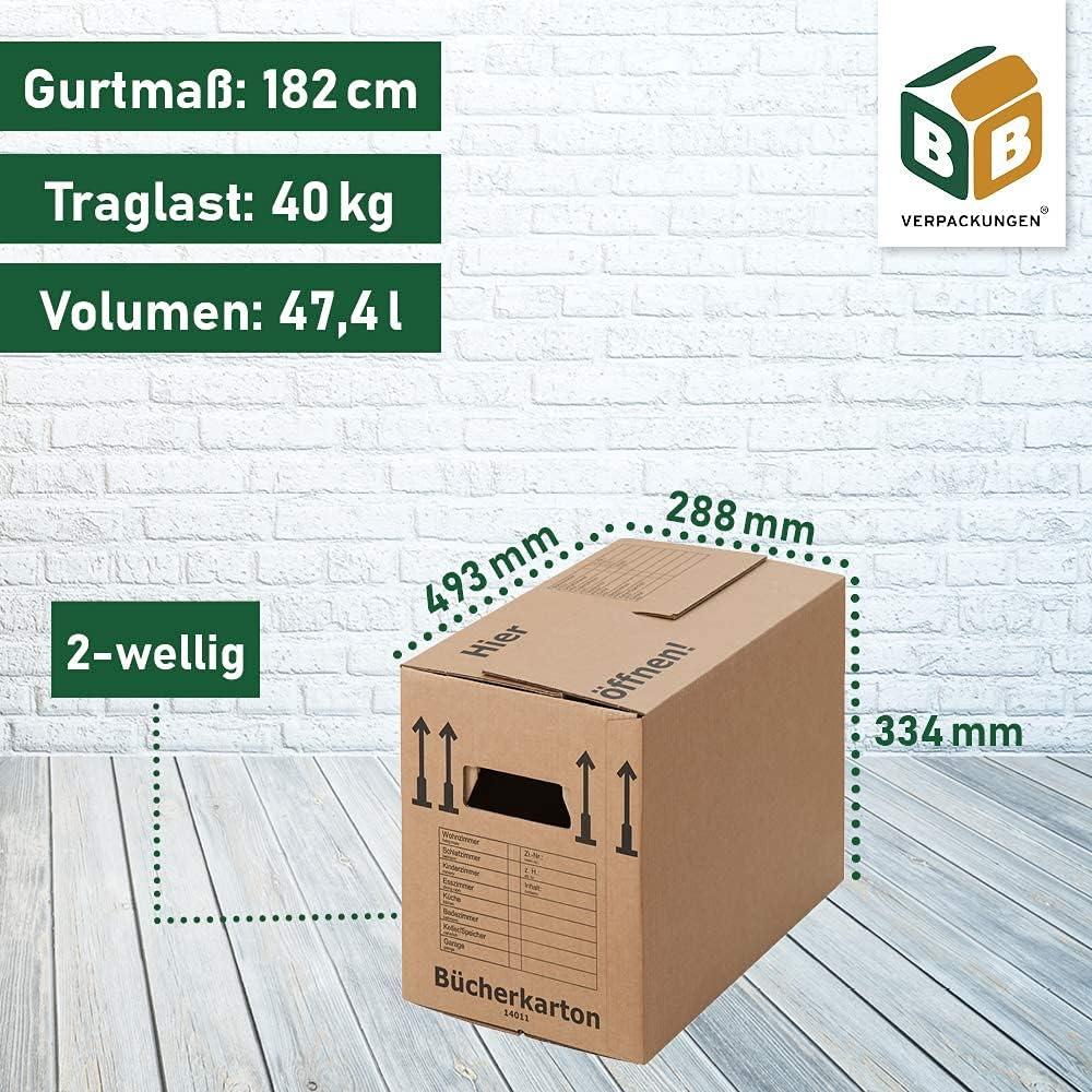 500 x 300 x 350 mm sets entre 5 y 1000 unidades estable de 2 ondulaciones, doble fondo, carpetas de cart/ón reciclado BB-Verpackungen 20 cajas de cart/ón para libros profesionales