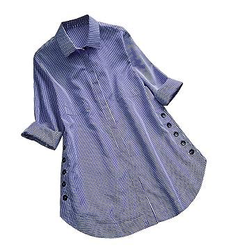 e31029d8a0f50 Women's Long Sleeve Lattice Button Casual Tops Shirt Loose Plus Size ...
