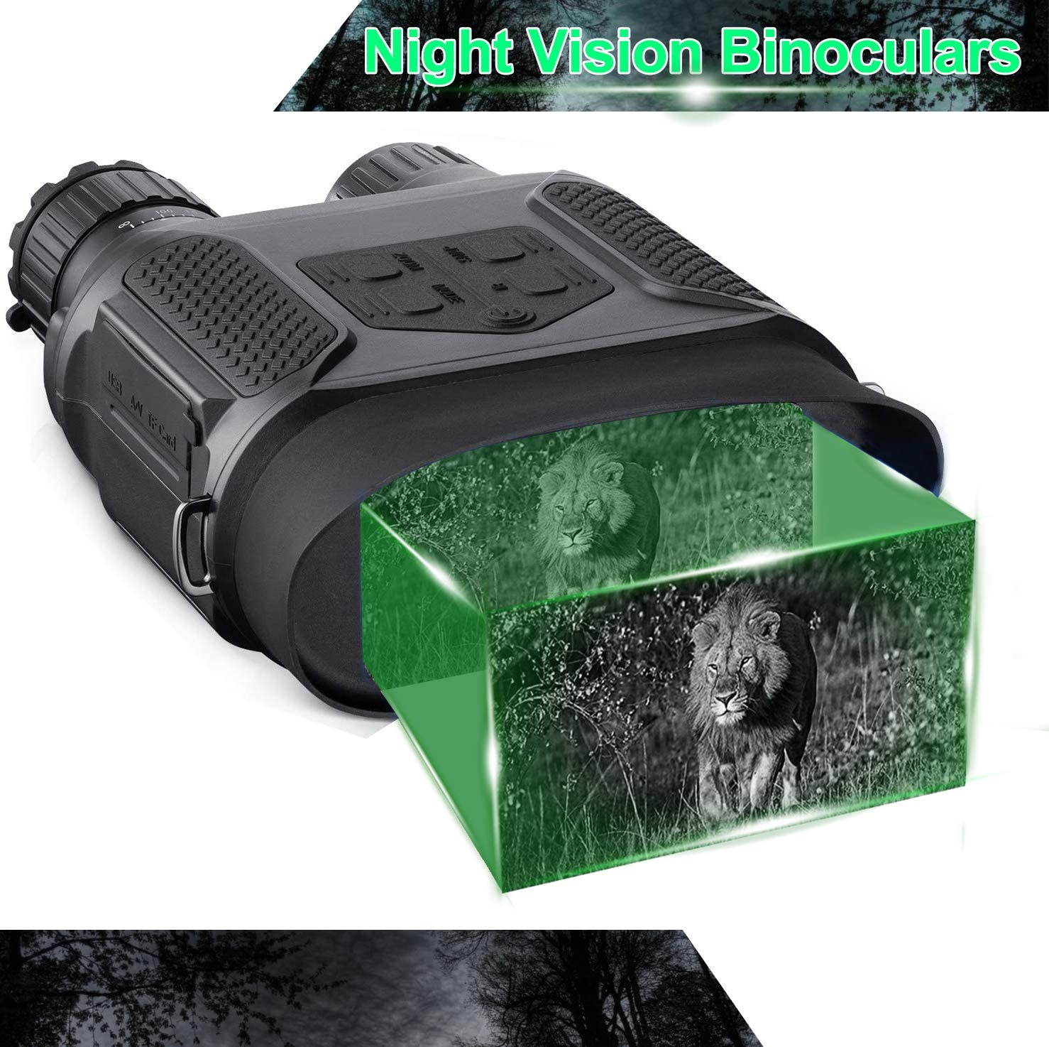 Night Vision Binoculars in Full Darkness – Save Photos Videos with Audio – 7x31mm Infrared Spy Gear for Hunting Surveillance – 4 Large Screen 1300ft Viewing Range